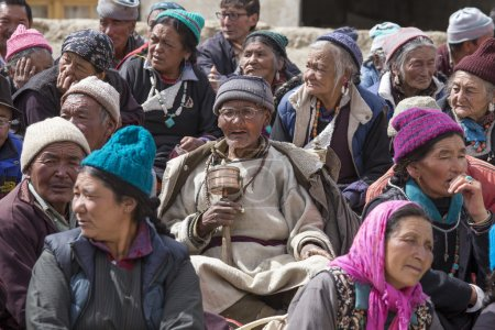 Tibetan Buddhist old people in the monastery of Lamayuru, Ladakh, India
