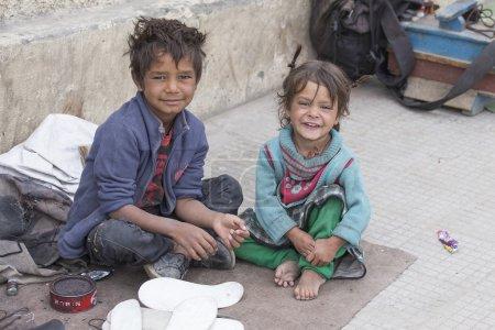 Poor children on the street in Leh, Ladakh, India