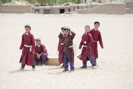 Tibetan boys involved in sports .  Druk White Lotus School. Ladakh, India