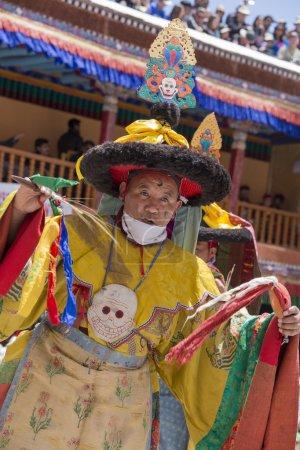 Tibetan Buddhist lamas perform a ritual Tsam dance . Hemis monastery, Ladakh, India