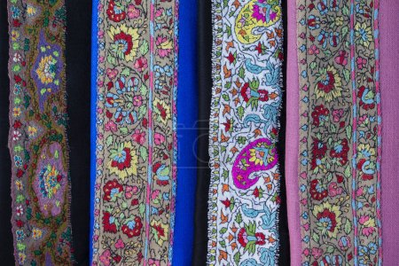 Detail handmade pashmina shawl with delicate embroidery.