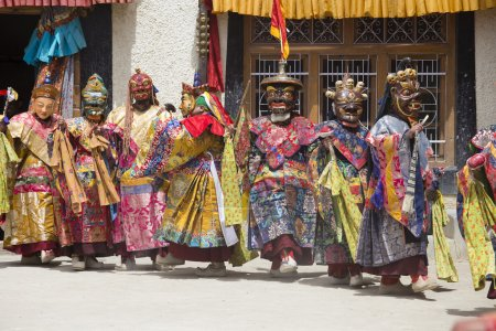 Tibetan lama dressed in mask dancing Tsam mystery dance on Buddhist festival at Hemis Gompa. Ladakh, North India