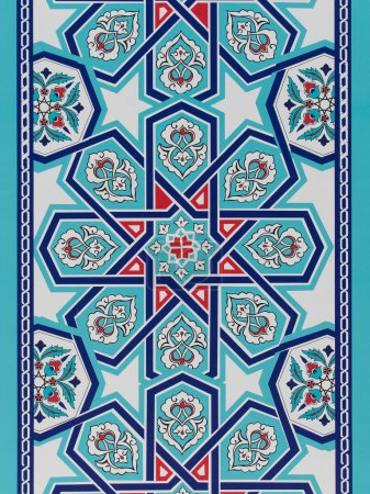 Handmade Turkish Blue Tiles on the wall in Istanbul City, Turkey