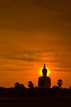 Big buddha statue in sunset