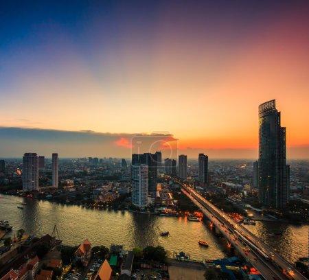 cityscape fireworks of bangkok