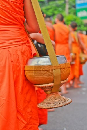 Buddhist monks with orange clothes