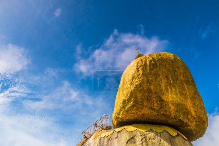 Photo for Kyaikhtiyo or Kyaiktiyo pagoda, Golden rock, Myanmar.They are public domain or treasure of Buddhism, no restrict in copy or use - Royalty Free Image