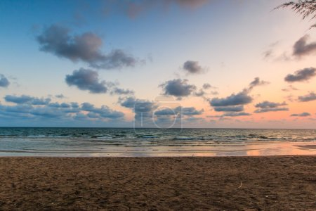 Sand beach on sunset