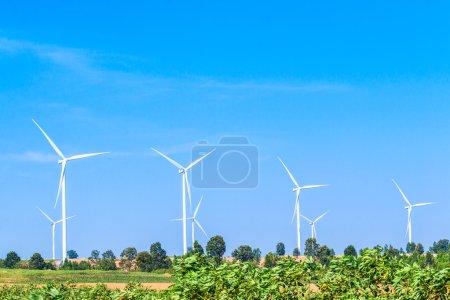 Wind turbines on nature