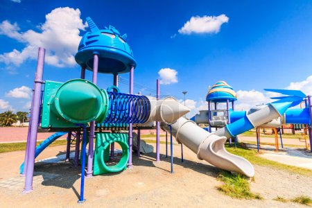 Photo for Modern children playground slide in city park - Royalty Free Image