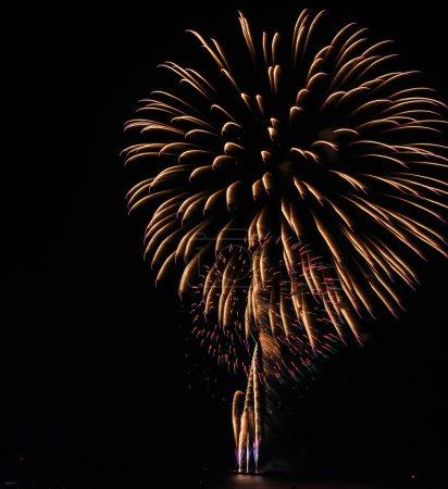 Foto de Fuegos artificiales fiesta colorido hermoso en el fondo de cielo negro - Imagen libre de derechos
