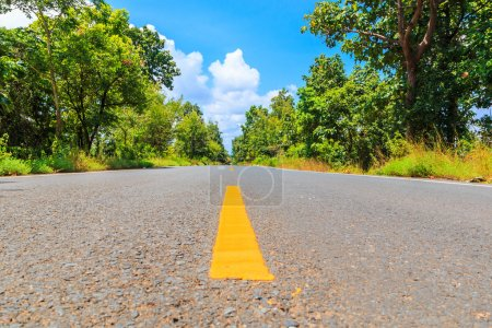 Photo for Asphalt road - highway with traffic arrows - Royalty Free Image