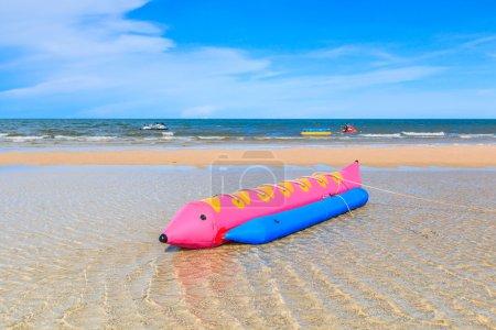 Banana boat on beach