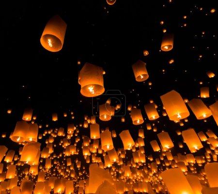 Floating lanterns at Thailand