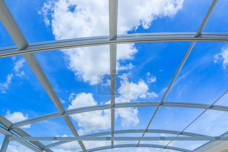 Photo for Steel aluminum roof with beautiful sky - Royalty Free Image