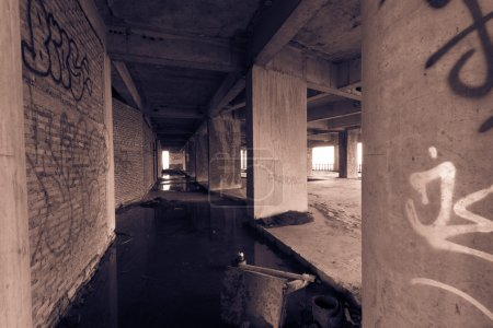 Abandoned building corridor