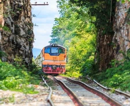 Train running on railroad
