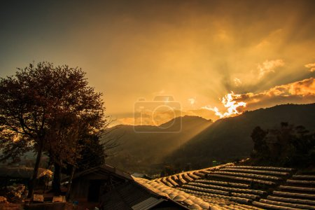 sunset over Chiang Mai landscape