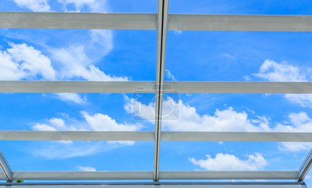 Photo for Steel aluminum roof over beautiful sky - Royalty Free Image