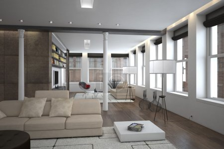 Large spacious living room interior