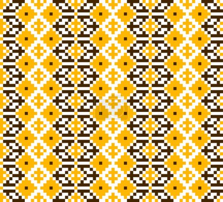 Seamless abstract geometric pattern. Traditional Ukrainian embroidery. Hipster background. Pixel art.