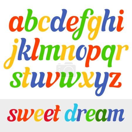 Fun vector italic font for kids