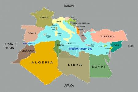 Countries surrounding the Mediterranean Sea