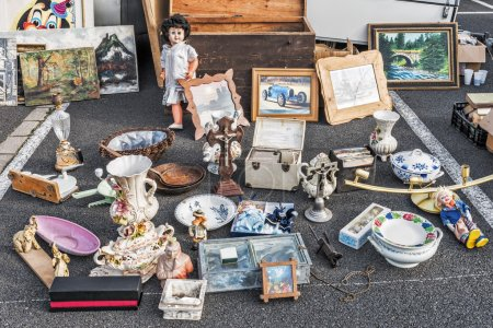 Odds and ends on a flea market stall