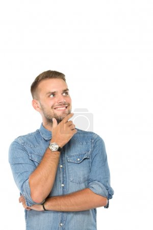 Happy youngman thinking