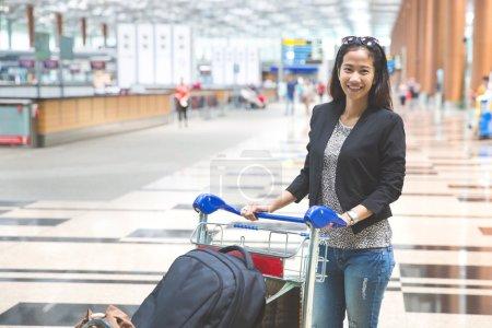 woman in international airport