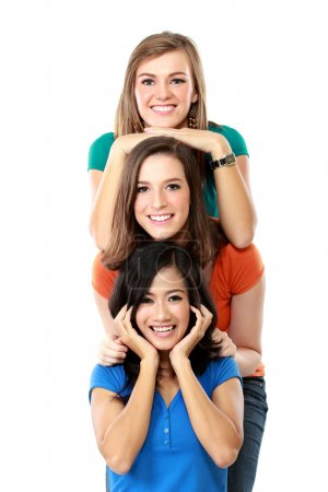 Three happy girls lined up