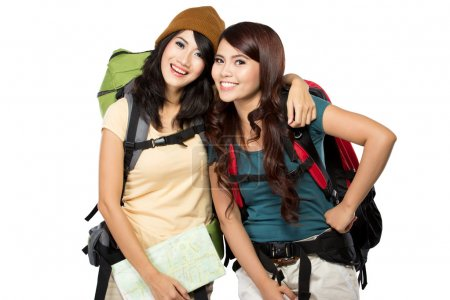 Two asian young girls on trip