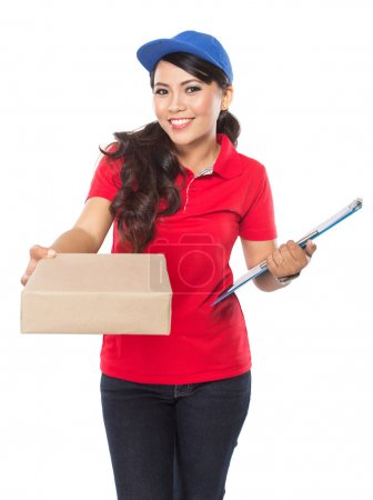 Happy Female delivery service with clipboard