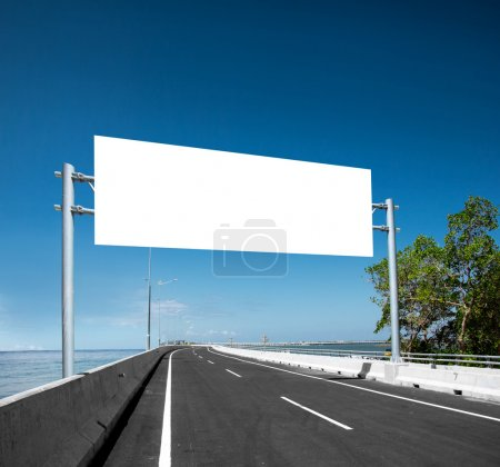 Blank White Blank board or billboard or roadsign in the street