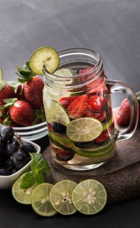 Summer fresh fruit drink. fruit Flavored water mix with strawber