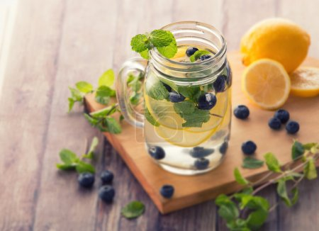 fresh fruit Flavored infused water mix of blueberry, lemon and m
