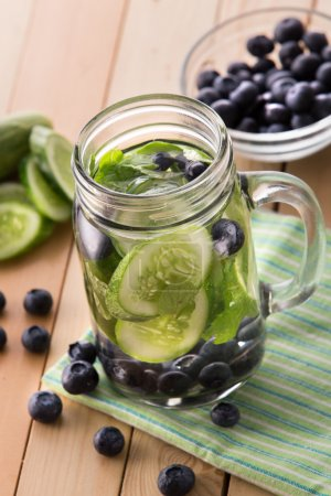fresh fruit Flavored infused water mix of cucumber and blueberry