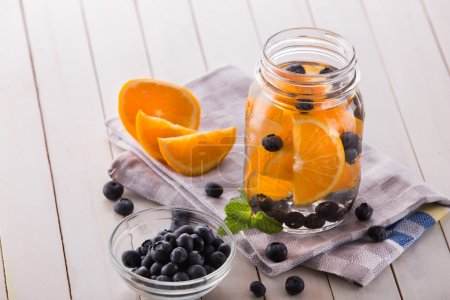 fresh fruit Flavored infused water mix of orange, blueberry and
