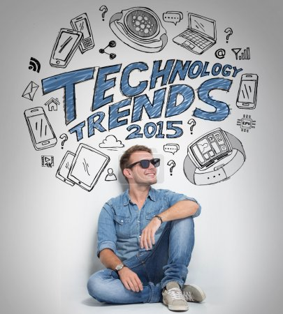 Man thinking about technology trends, illustrated things