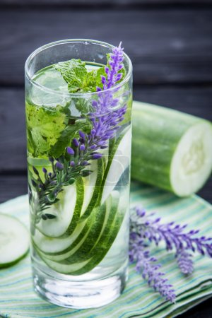 infused water mix of  cucumber and mint leaf