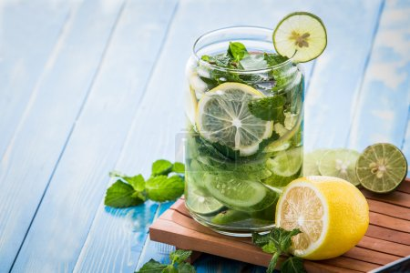 infused water mix of cucumber, lemon and mint leaf