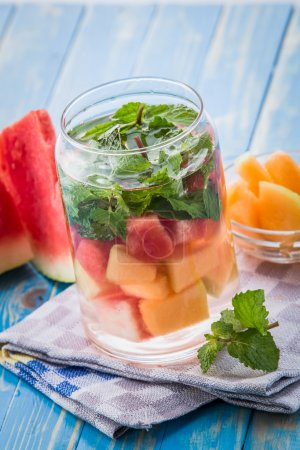 infused water mix of melon, watermelon and mint leaf