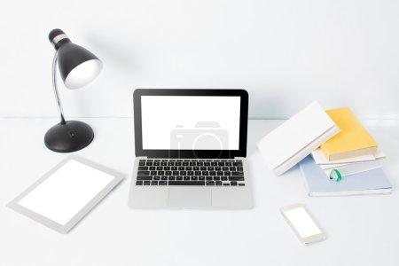 modern creative workspace on white background