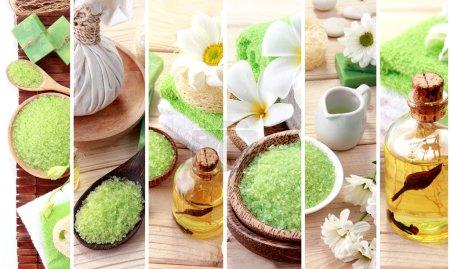 Photo pour Un portrait de collage concept spa vert. savon et Secirity objets de spa - image libre de droit
