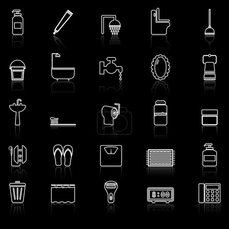 Bathroom line icons with reflect on white
