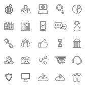 SEO line icons on white background