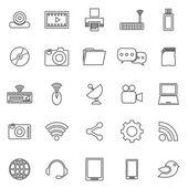 Hi-Tech linie ikony na bílém pozadí