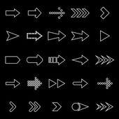 Arrow line icons on black background