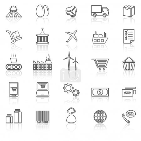 Illustration for Supply chain line icons with reflect on white, stock vector - Royalty Free Image