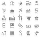 Supply chain line icons with reflect on white